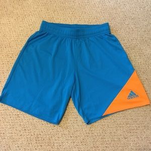 Men's blue and orange Adidas shorts